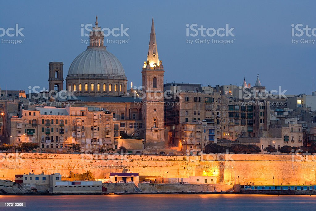 Valetta Skyline In The Evening royalty-free stock photo