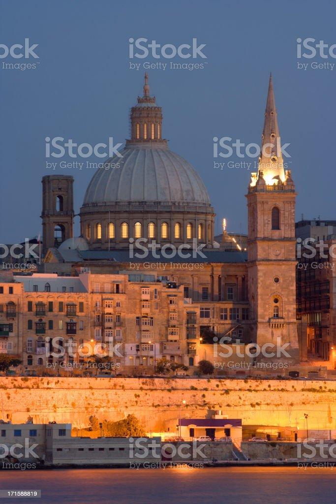 Valetta Skyline In The Evening royalty-free stock photo