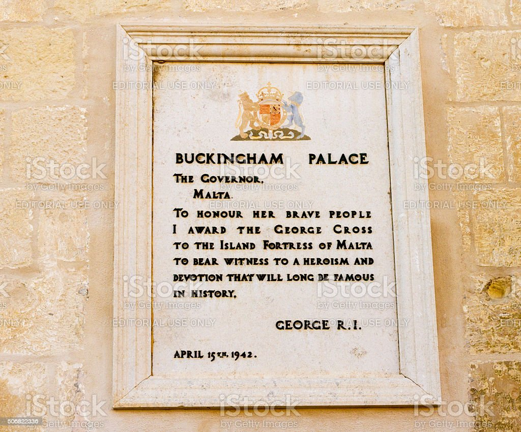 Valettta, Malta: British Plaque Honoring Maltese Citizens for Heroism stock photo