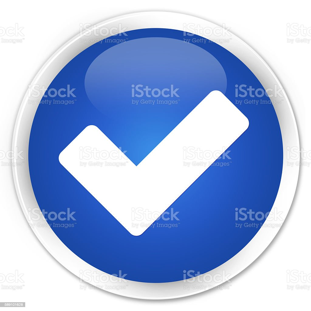 Validate icon blue glossy round button stock photo