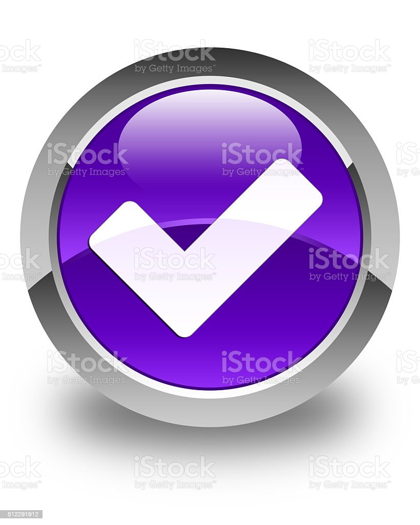 Validate icon glossy purple round button stock photo