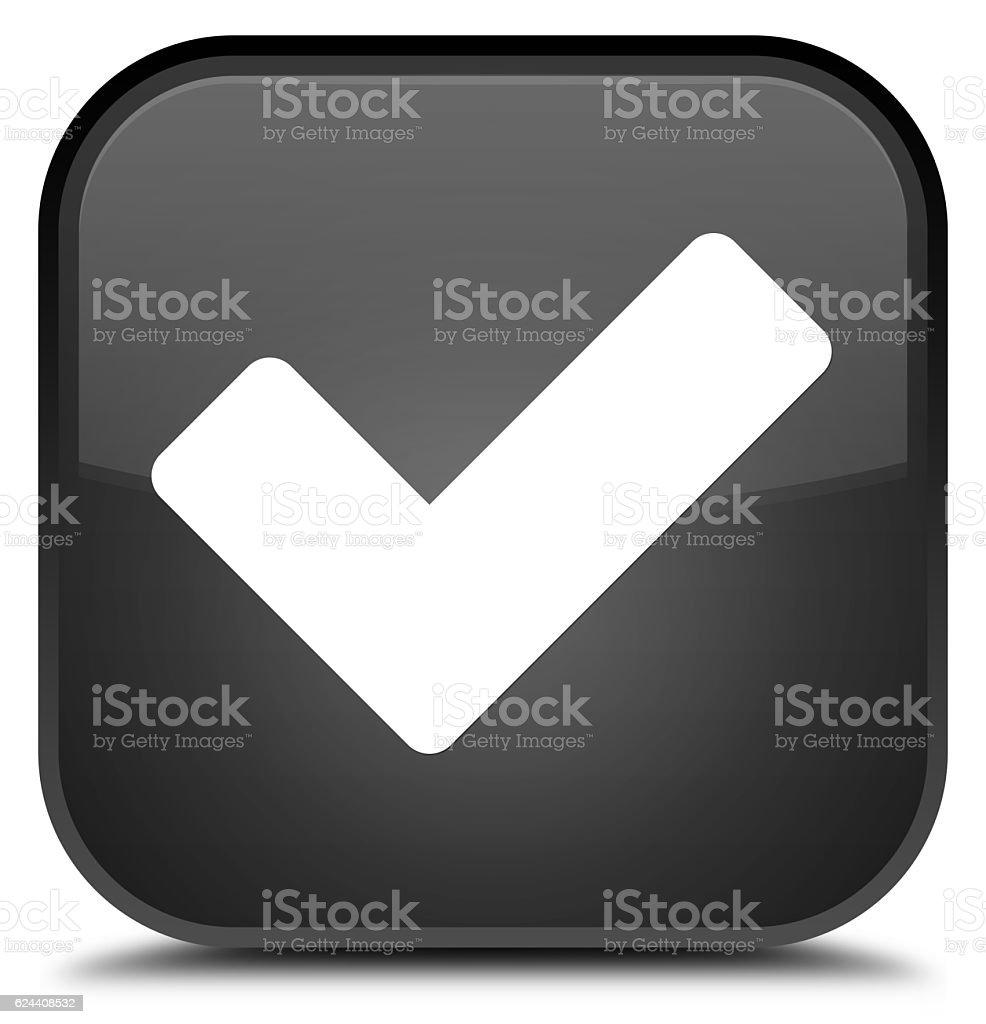 Validate icon special black square button stock photo