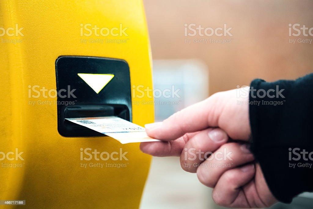 Validating Ticket For Underground Train In Prague stock photo