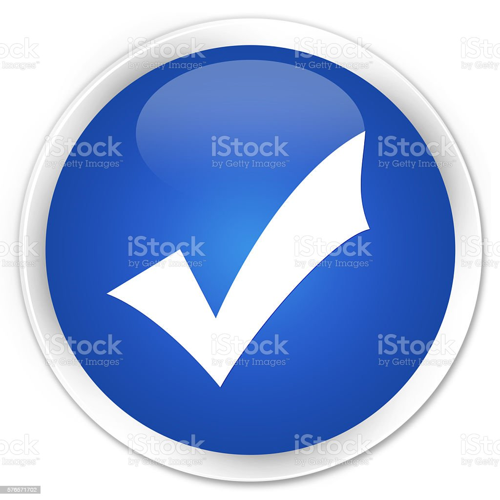 Validation icon blue glossy round button stock photo