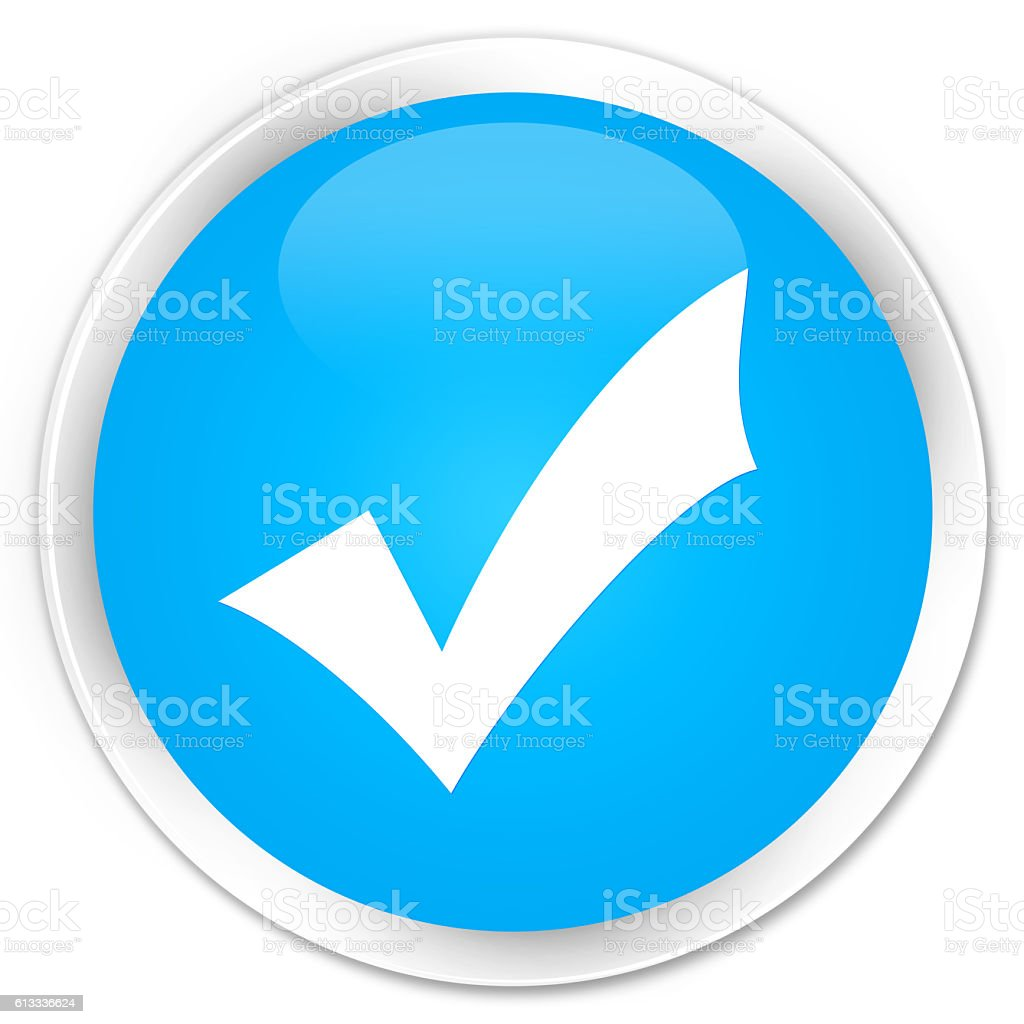 Validation icon cyan blue glossy round button stock photo