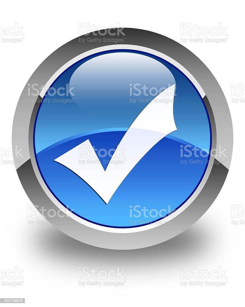 Validation icon glossy blue round button stock photo