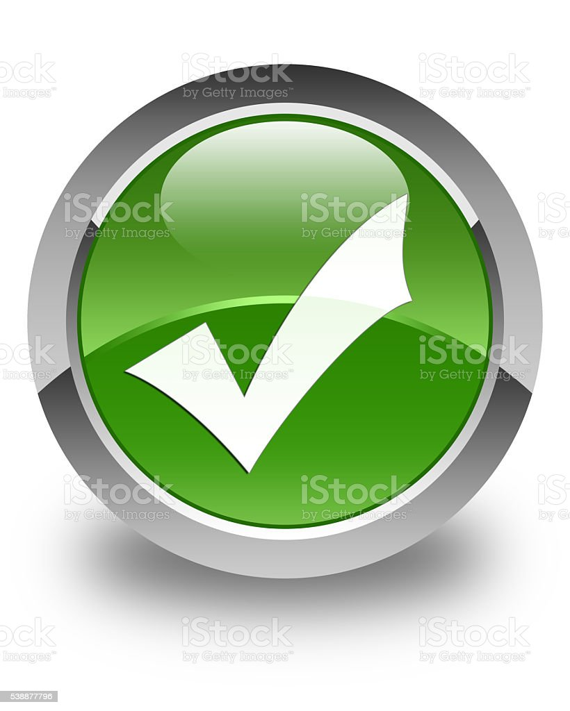 Validation icon glossy soft green round button stock photo
