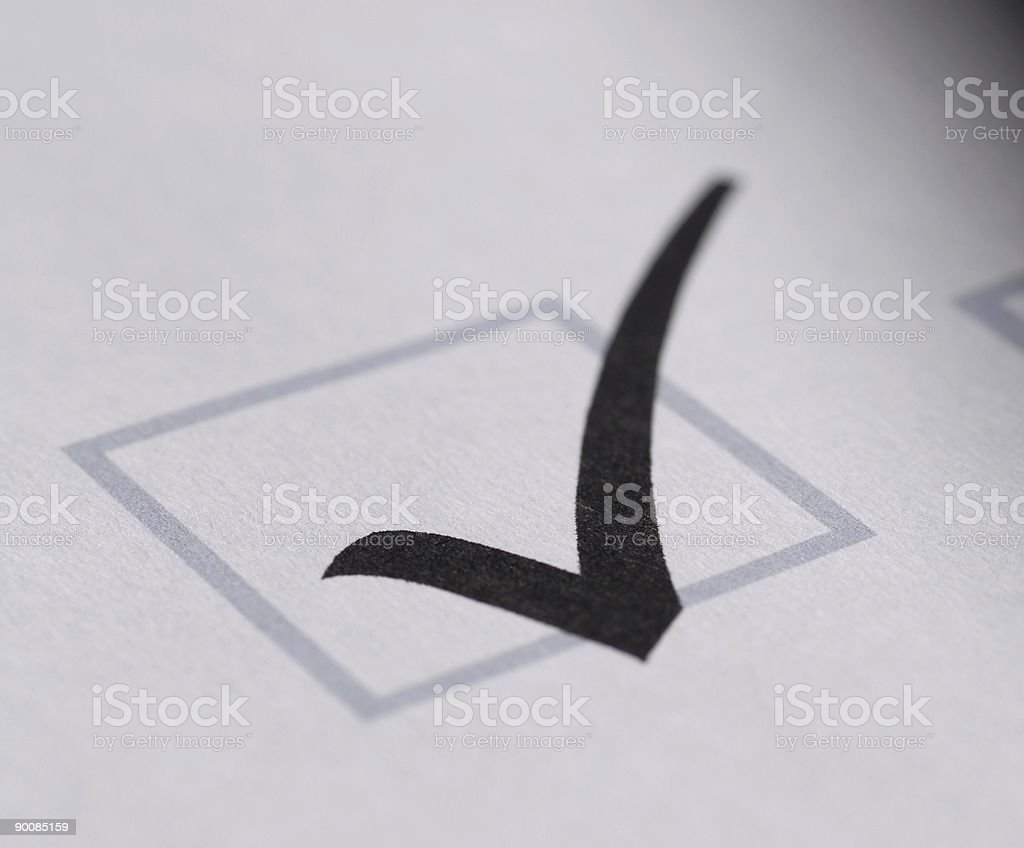 validation shape on a white paper stock photo