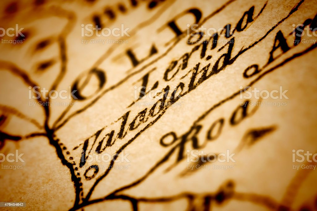 Valladolid on an Antique map stock photo