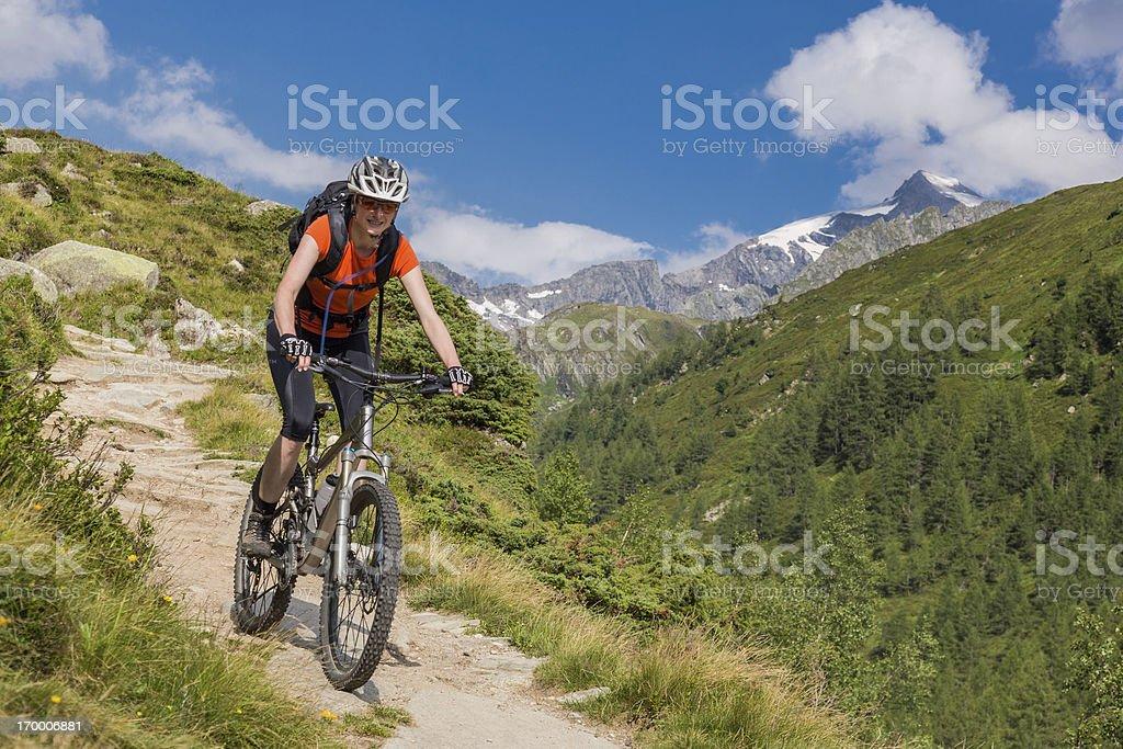 Valle Aurina singletrail fun, Italy stock photo