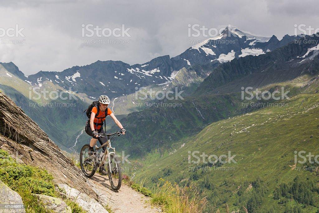 Valle Aurina singletrail, Italy stock photo