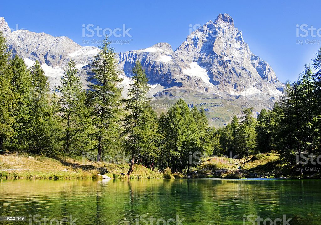 Valle d'Aosta view of the blue lake stock photo