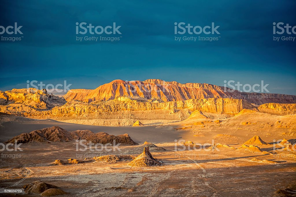 Valle de la Luna, Moon Valle at Sunset, Atacama Desert stock photo