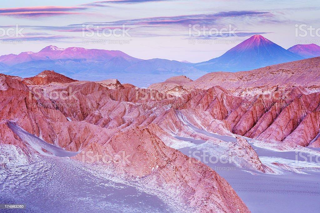 Valle de la Muerte, Atacama Desert, Chile at sunset stock photo