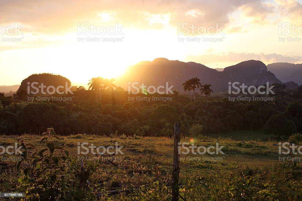 Valle de Viñales at Sunset stock photo