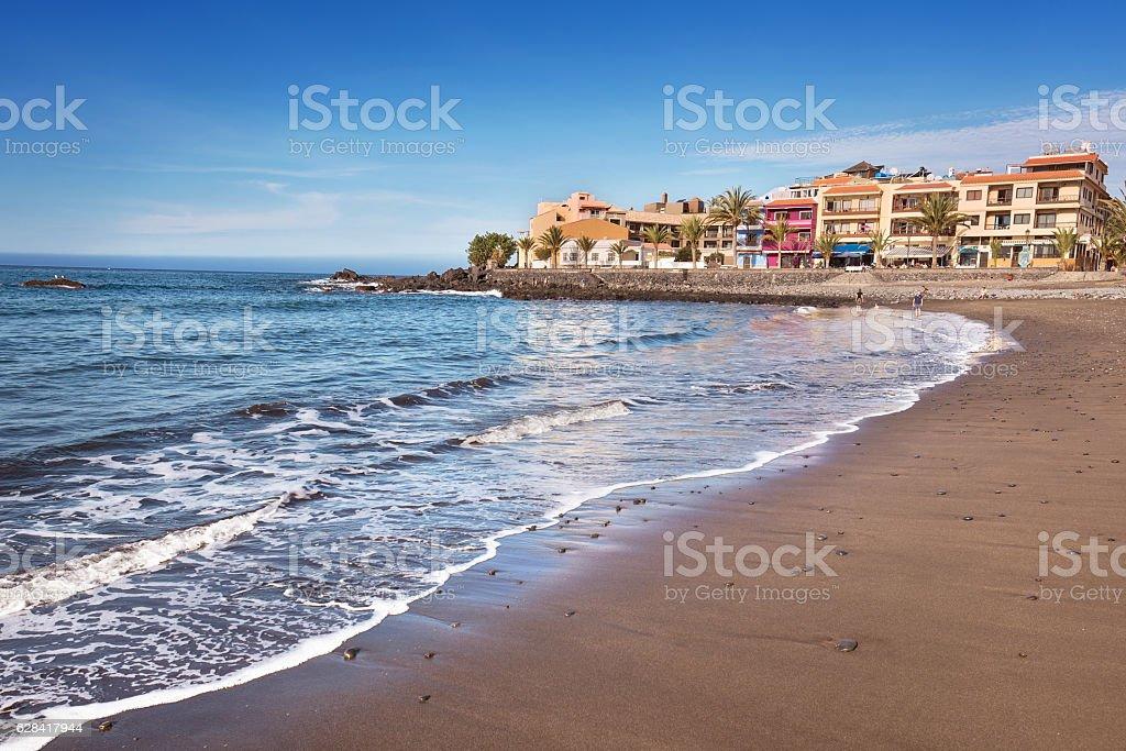 Valle Gran Rey beach in La Gomera, Canary islands, Spain. stock photo