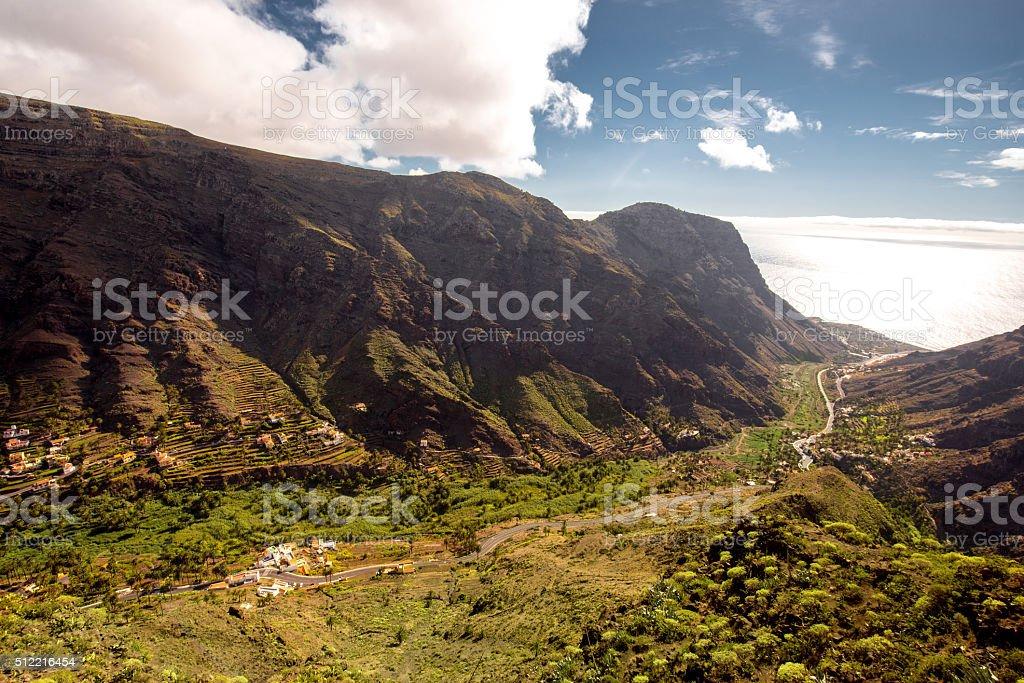 Valle Gran Rey valley on La Gomera island stock photo