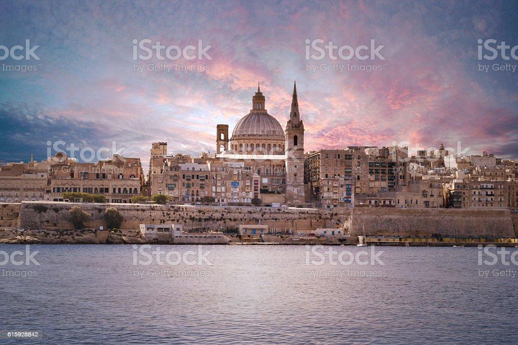 Valletta at sunset stock photo