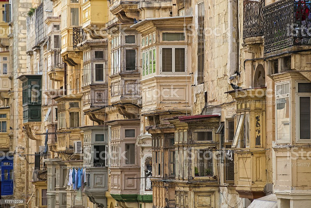 Valletta Balconies royalty-free stock photo