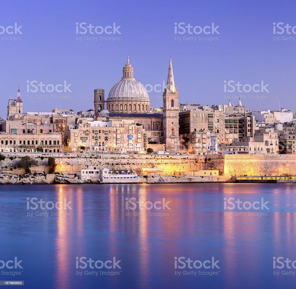 Valletta City Skyline at Night, Malta stock photo