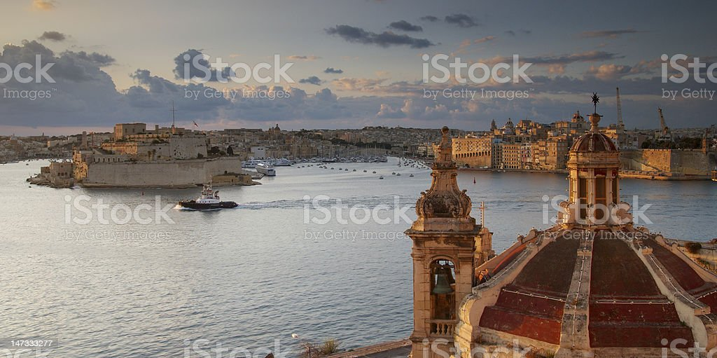 Valletta Dawn in Malta on a gloomy afternoon stock photo