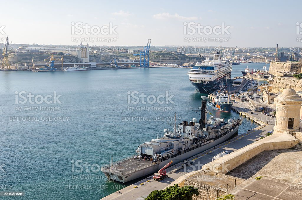 Valletta Grand Harbour with boats stock photo