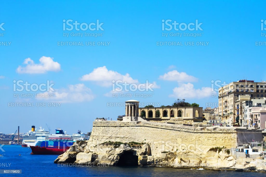 Valletta, Malta: Entrance to Valletta's Grand Harbor stock photo