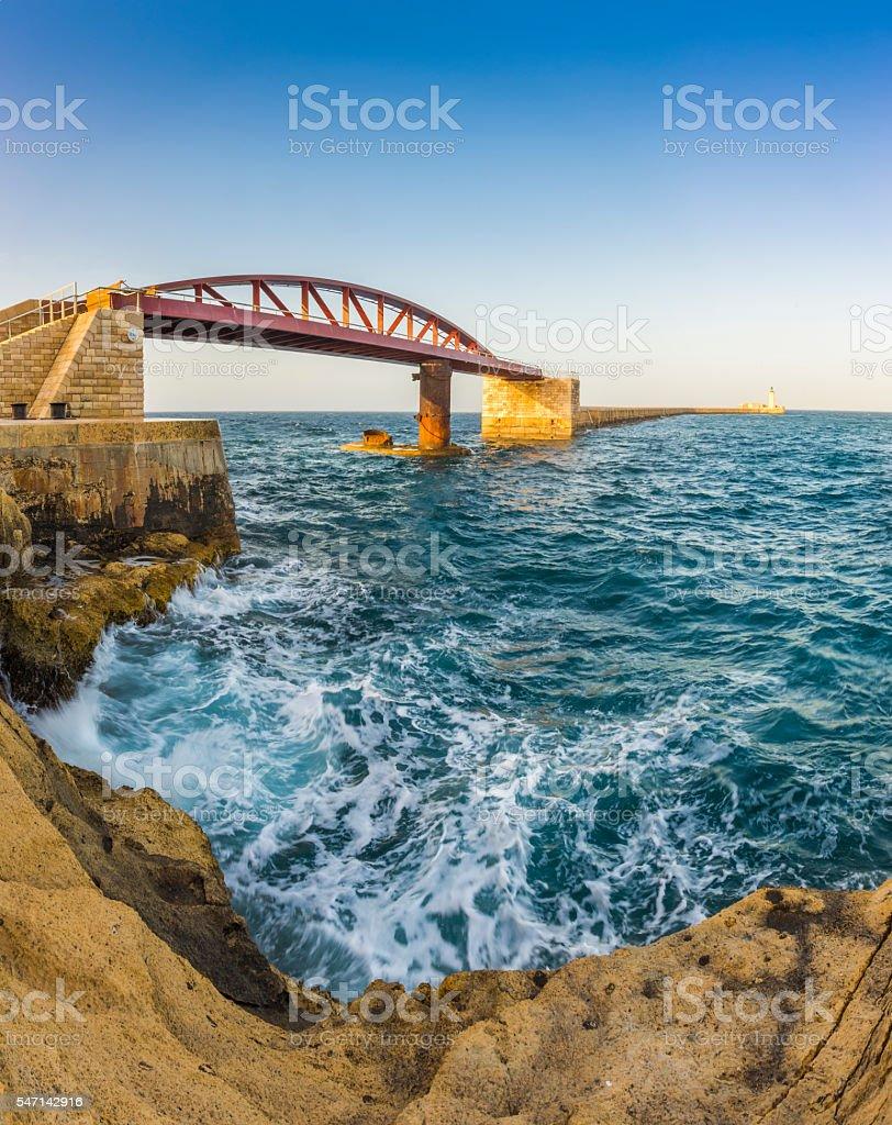 Valletta, Malta - St. Elmo Breakwater bridge stock photo