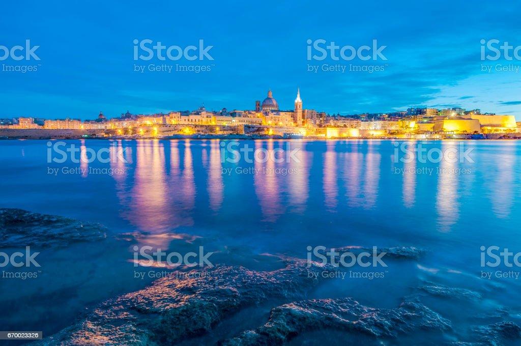 Valletta seafront skyline view, Malta stock photo