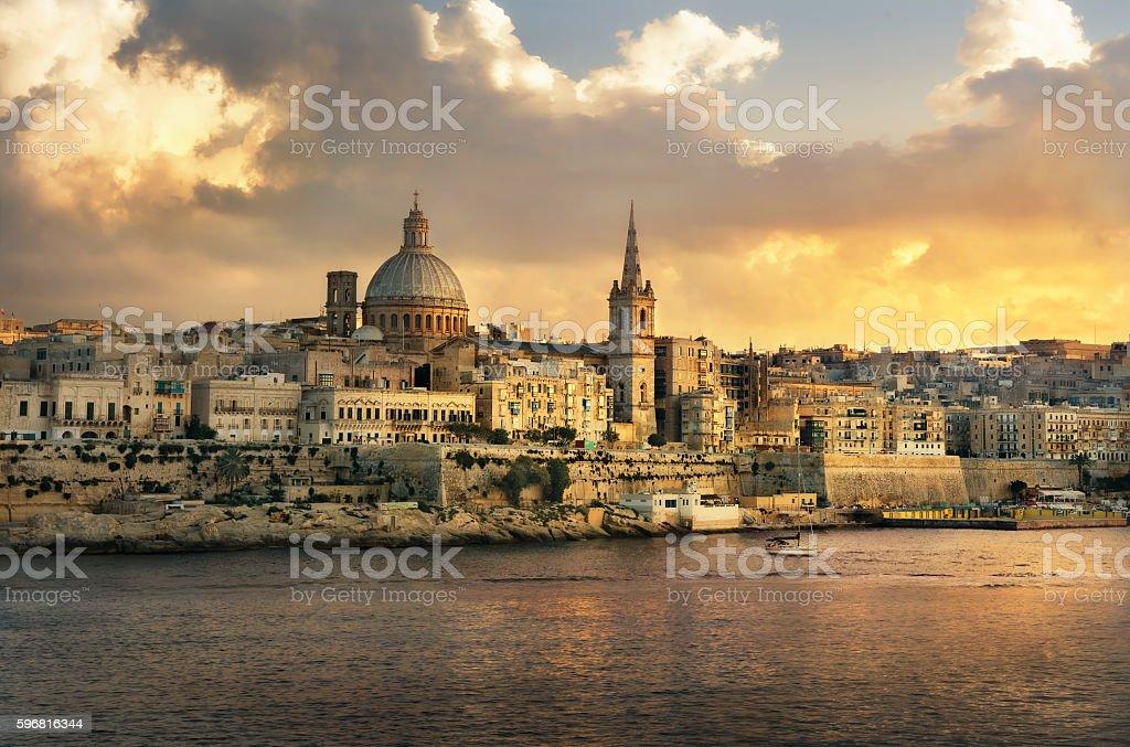 Valletta skyline waterfront at sunset. Malta stock photo