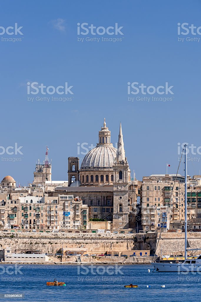 Valletta Skyline with dome at background stock photo