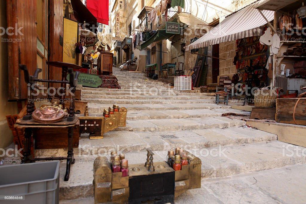 Valletta Street during a film photoshoot stock photo
