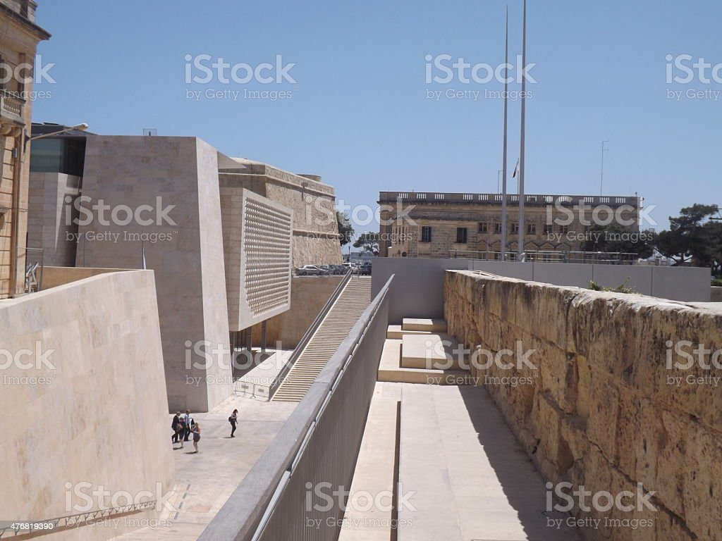 Valletta's new entrance and Parliament Building stock photo