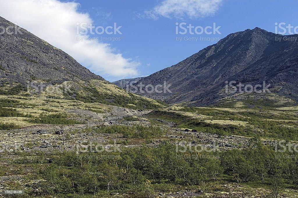 Valley along the Pachvumchorr range in Khibiny Mountains stock photo