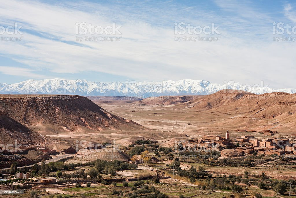 Valley and Atlas mountains stock photo