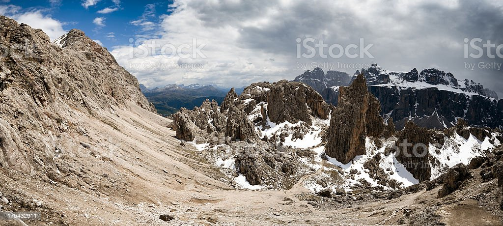 Valley and debris in the mountains stock photo