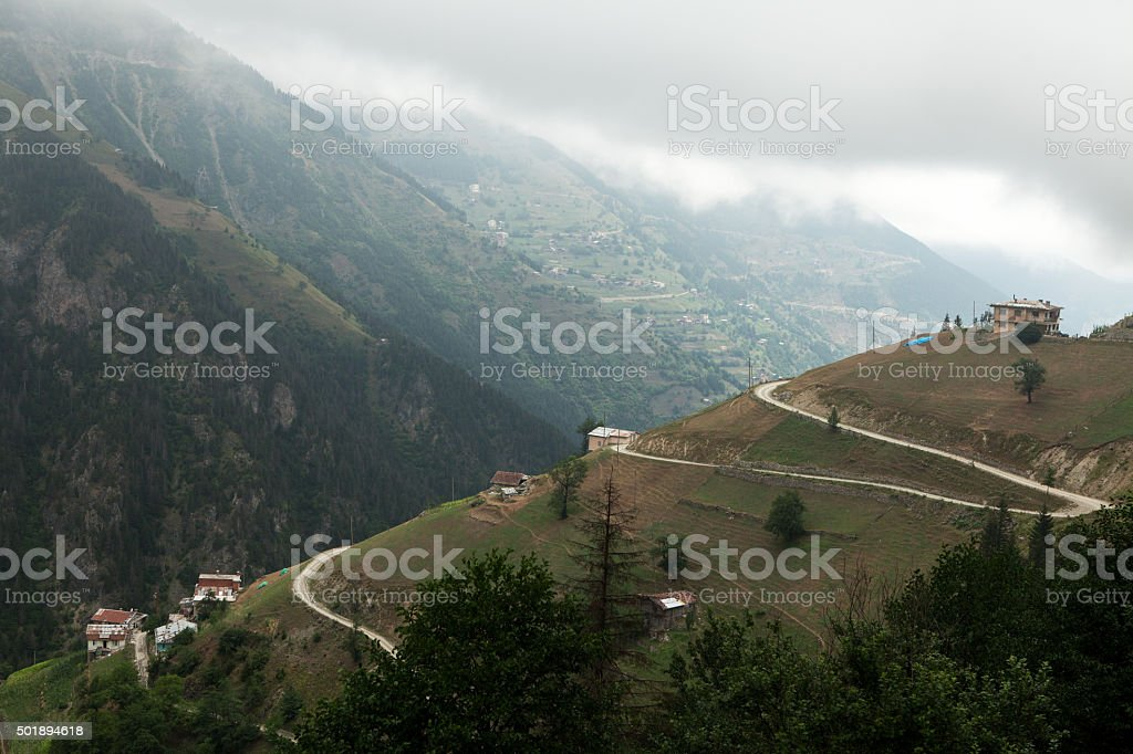 Valley and Mountain Houses stock photo