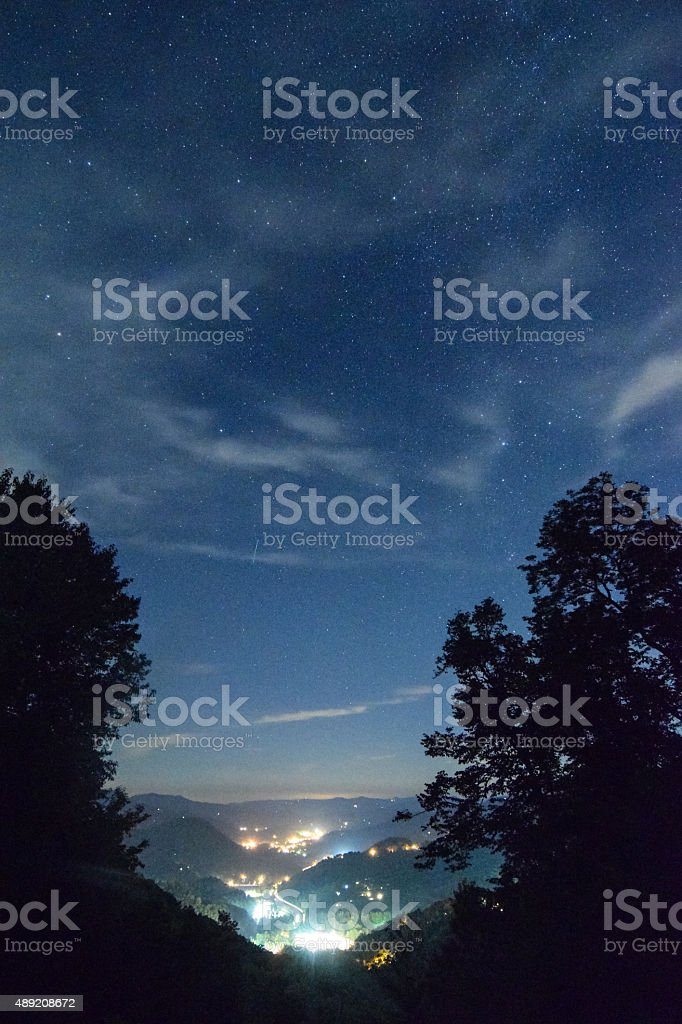 Valley and Stars stock photo
