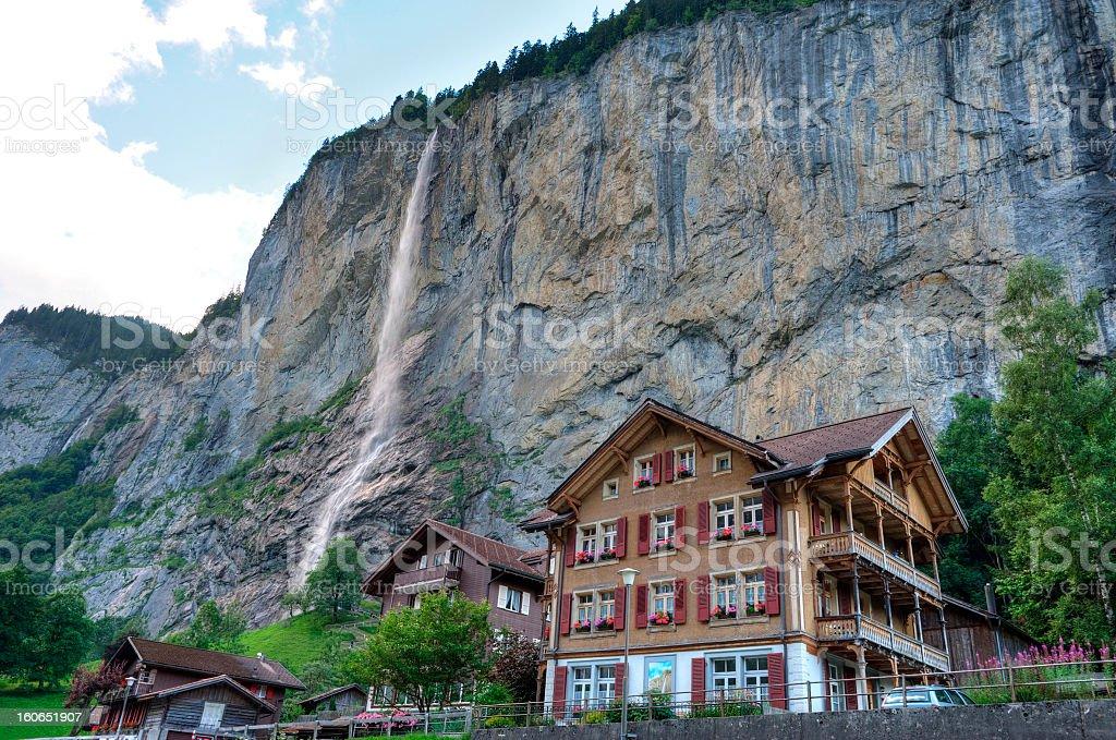 Valley and Waterfalls at Lauterbrunnen, Switzerland stock photo