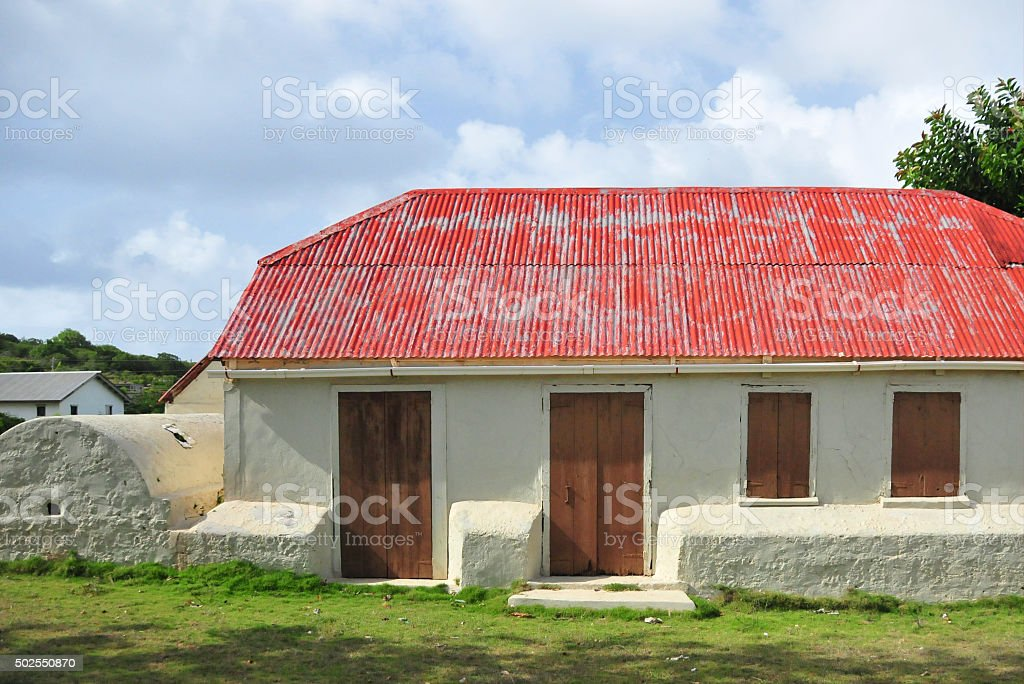 Valley, Anguilla: old building with cistern stock photo