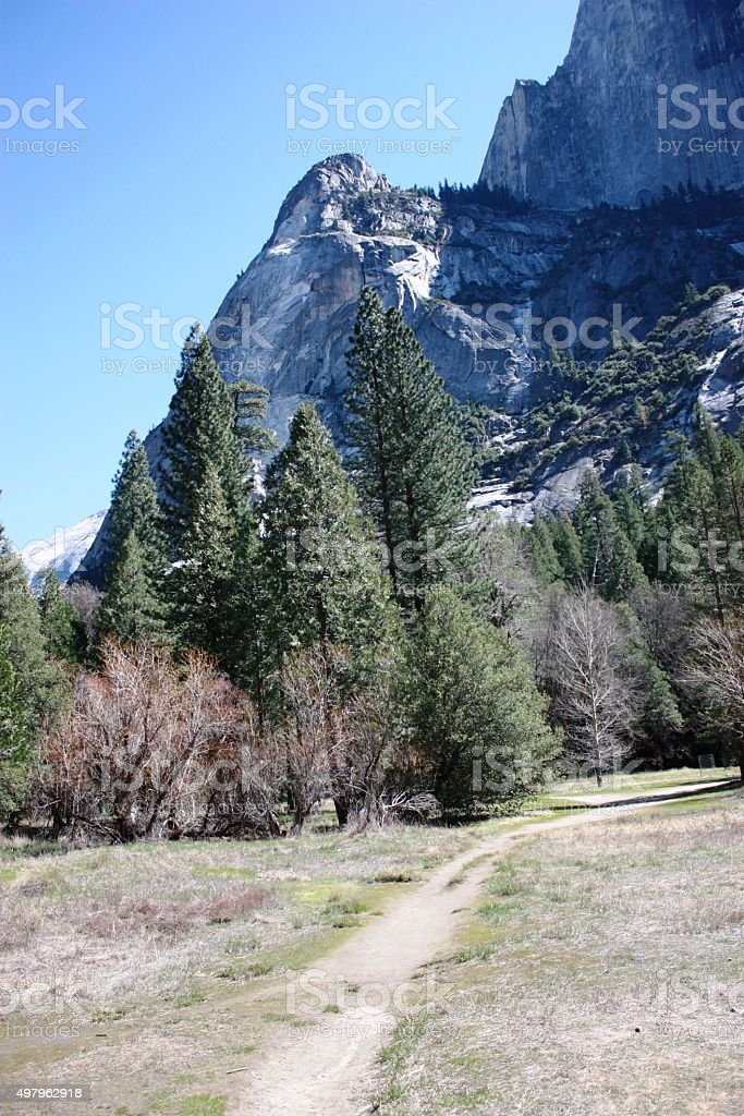 Valley at Mirror Lake in spring in Yosemite National Park stock photo