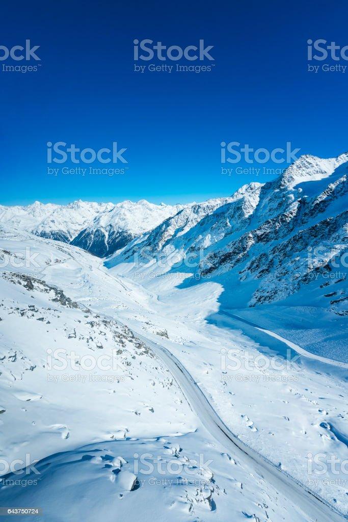 Valley at ski resort Soelden, Tirol, Austria stock photo