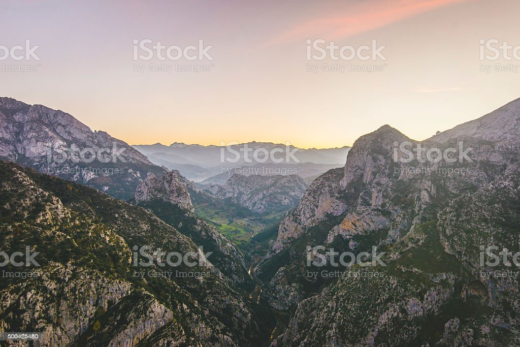 Valley at sunset stock photo