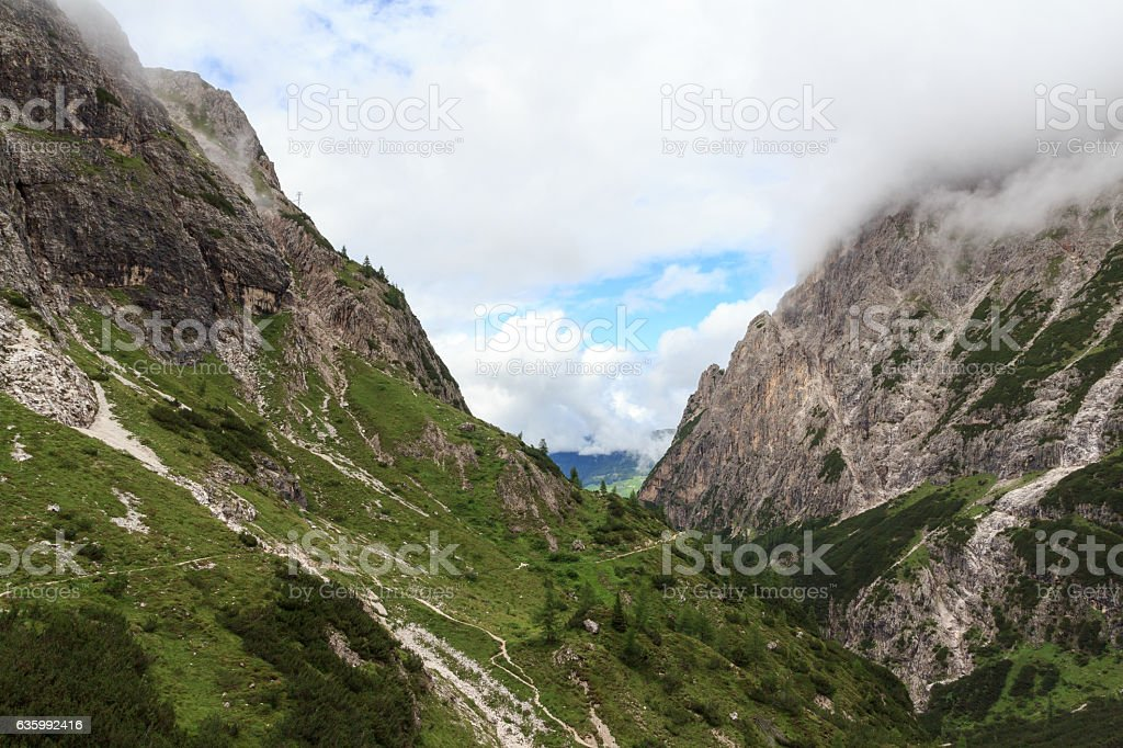Valley Fischleintal and mountains in Sexten Dolomites, South Tyrol, Italy stock photo