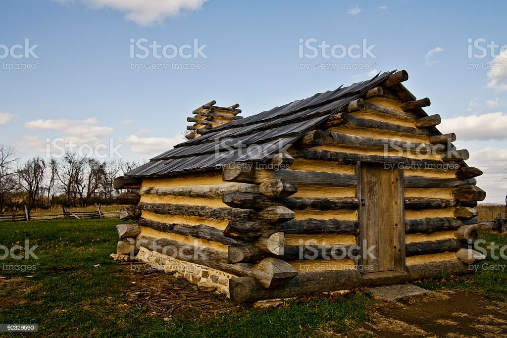Valley Forge cabin stock photo