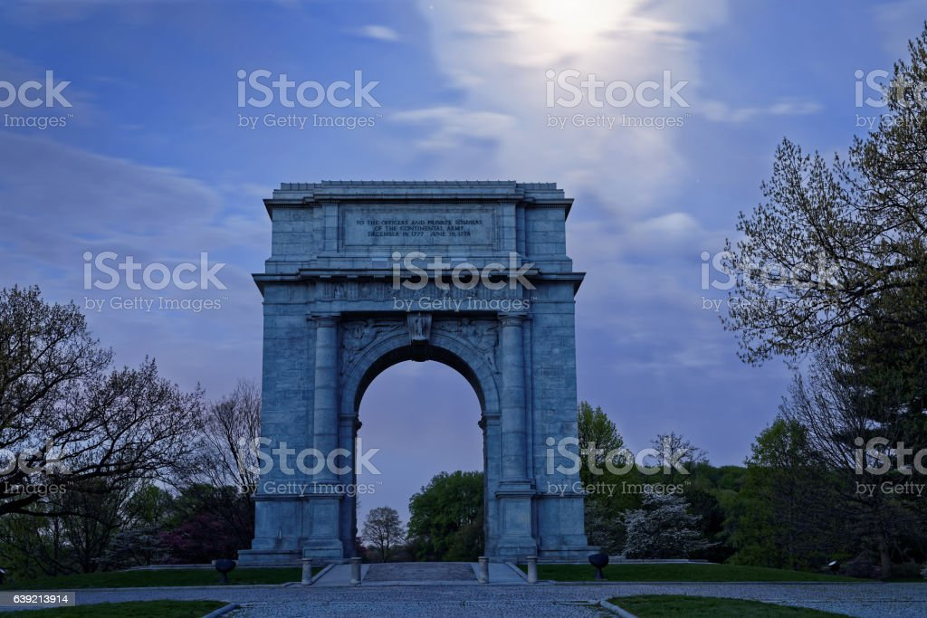 Valley Forge National Memorial Arch in Moonlight stock photo