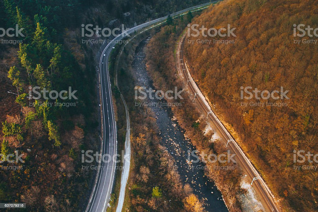 Valley from above stock photo