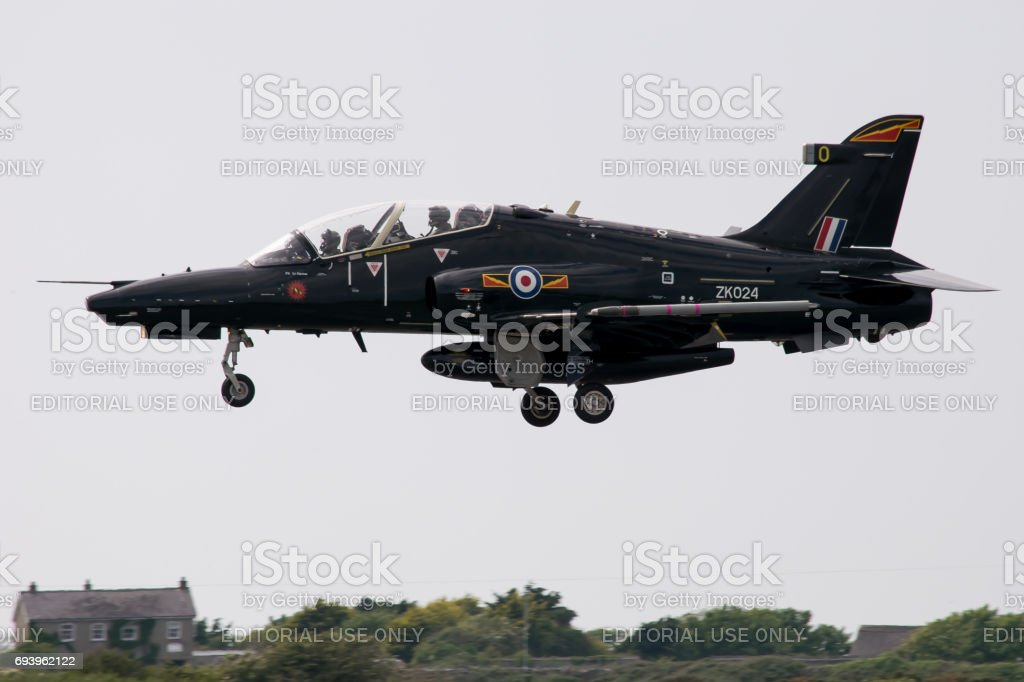 RAF Valley Hawk T2 Jet - Anglesey, North Wales. UK stock photo