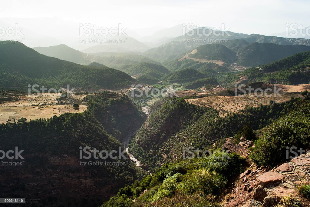 Valley in Atlas Mountains, Morocco stock photo