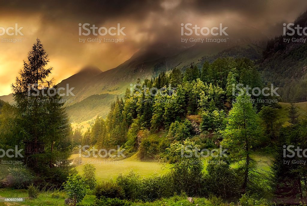 Valley in dramatic mood stock photo